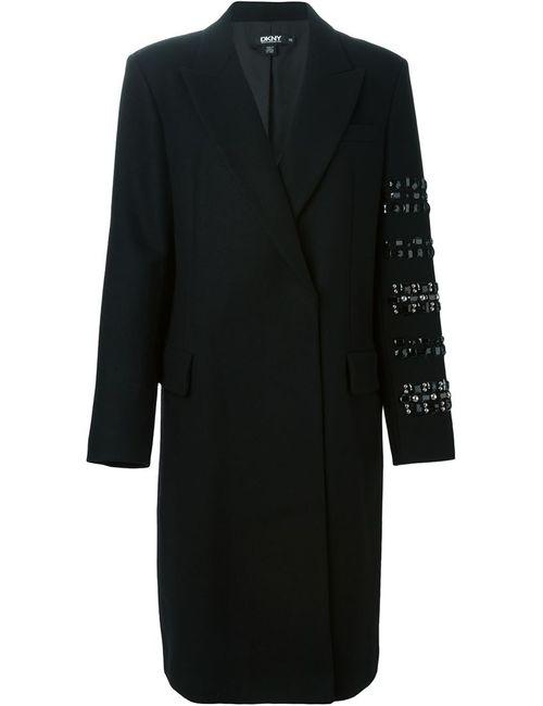 DKNY | Женское Чёрное Пальто С Декорированным Рукавом