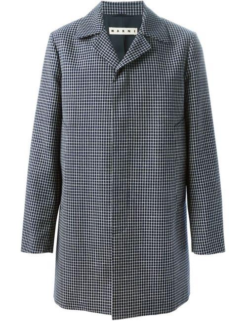 Marni | Мужское Синее Пальто В Клетку