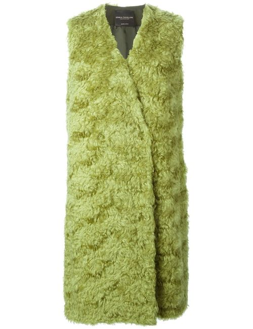 ERIKA CAVALLINI SEMICOUTURE | Женский Зелёный Удлиненный Меховой Жилет