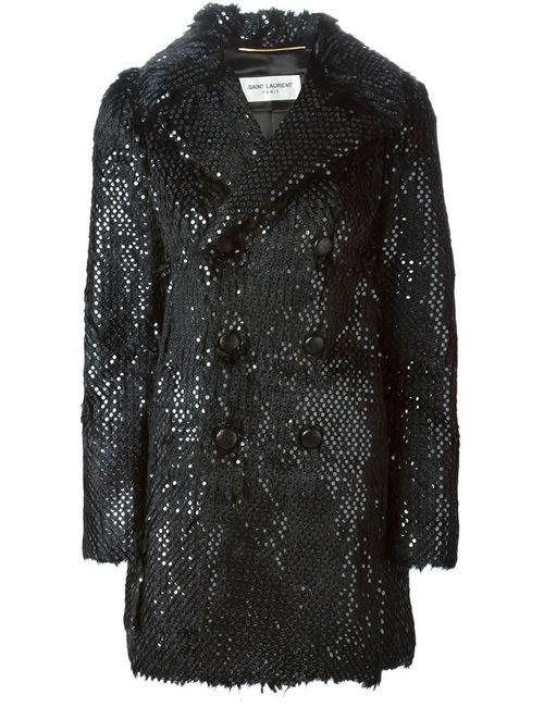 Saint Laurent | Женское Черный Меховое Пальто С Пайетками