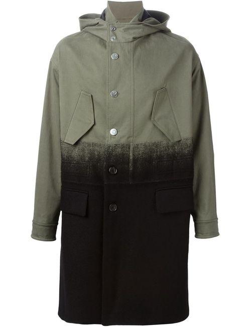 Neil Barrett | Мужское Зелёное Пальто С Капюшоном И Эффектом Деграде