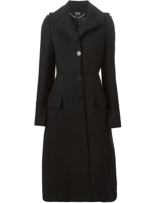 Alexander McQueen | Женское Чёрное Однобортное Пальто В Стиле Милитари
