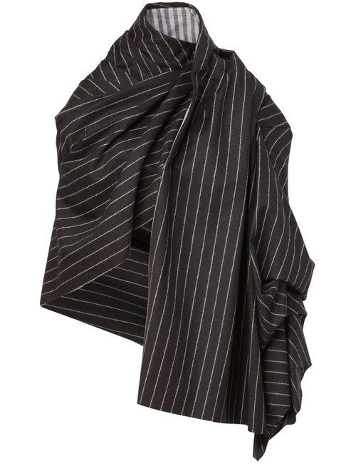 AGANOVICH | Женское Чёрное Полосатое Пальто-Плед