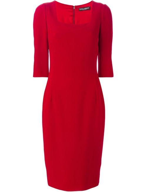 Dolce & Gabbana | Женское Красное Платье С Квадратным Вырезом
