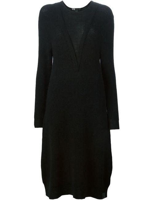 Y-3 | Женское Черный Платье-Свитер C V-Образным Вырезом
