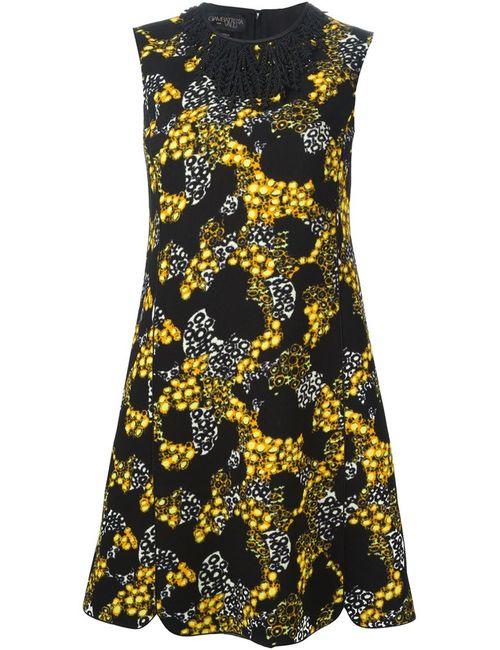 Giambattista Valli | Женское Черный Платье С Декорированным Воротником И Принтом