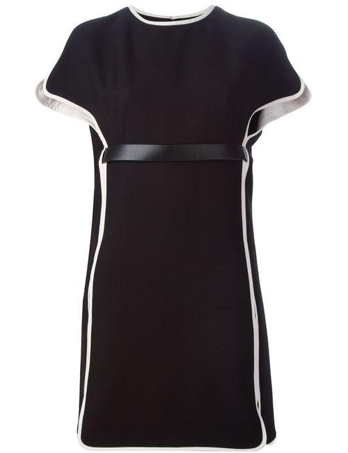 Valentino | Женское Чёрное Короткое Платье С Контрастной Окантовкой