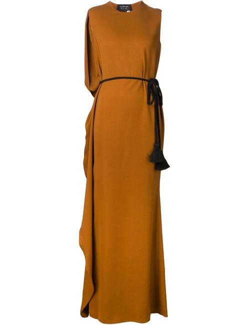 Lanvin | Женское Коричневое Вечернее Платье С Поясом