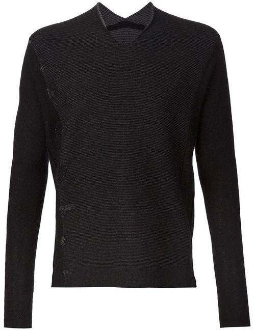 Label Under Construction | Мужское Черный V-Neck Panelled Sweater