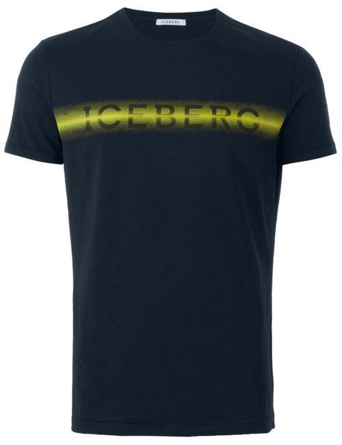 ICEBERG | Мужская Синяя Футболка С Принтом Логотипа