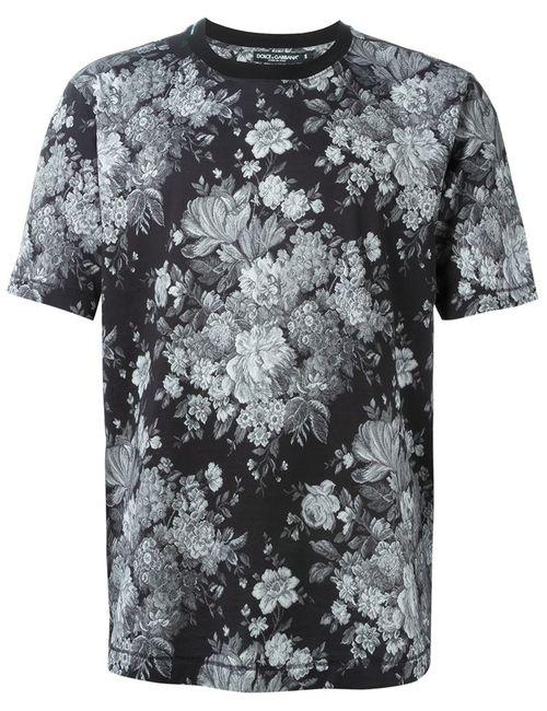 Dolce & Gabbana | Мужская Чёрная Футболка С Цветочным Принтом