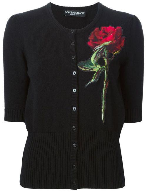 Dolce & Gabbana | Женский Чёрный Кардиган С Аппликацией Розы