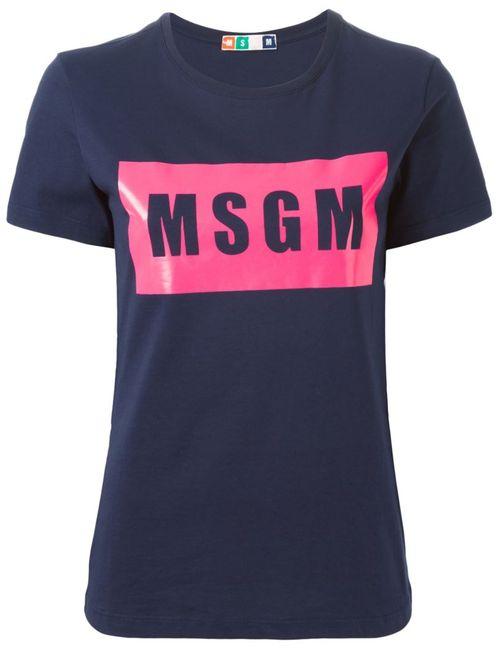 MSGM | Женская Синяя Футболка С Принтом Логотипа