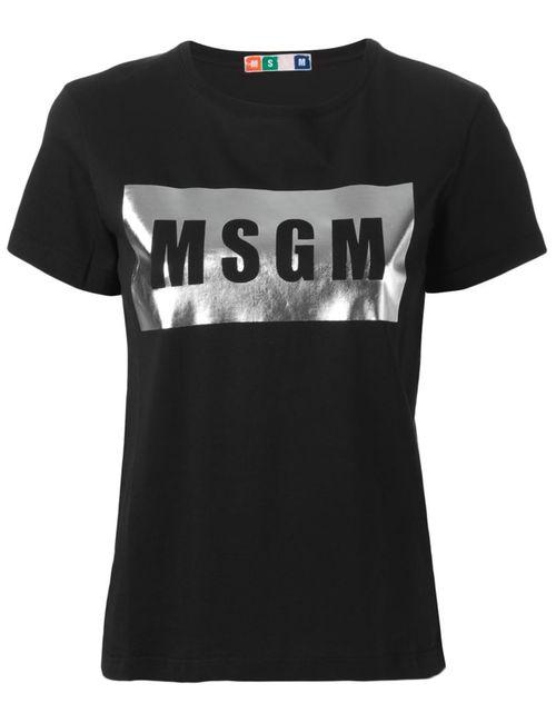 MSGM   Женская Чёрная Футболка С Принтом Логотипа