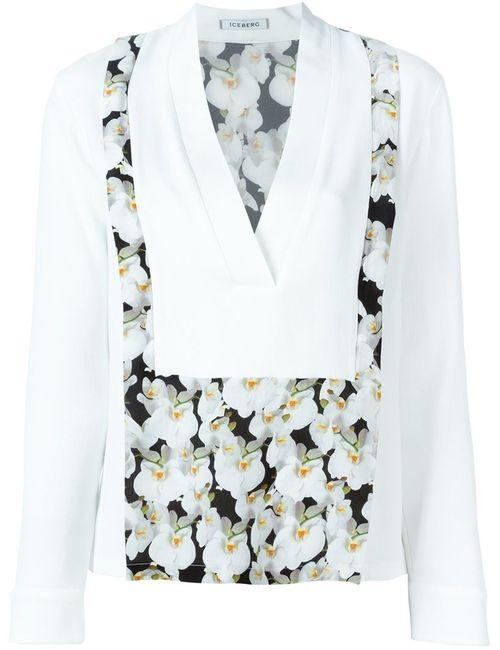 ICEBERG | Женская Белая Блузка C V-Образным Вырезом