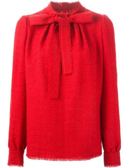 Dolce & Gabbana   Женская Красная Блузка С Завязкой На Бант