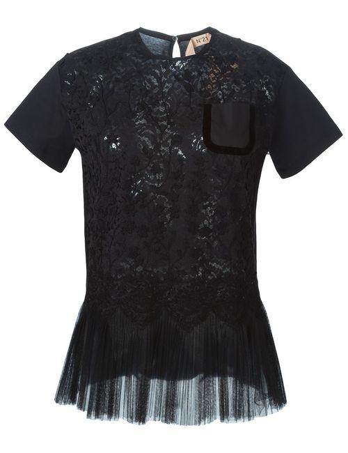 No21 | Женская Чёрная Кружевная Блузка С Баской
