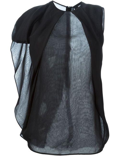 Dsquared2   Женская Чёрная Прозрачная Блузка С Драпированными Деталями