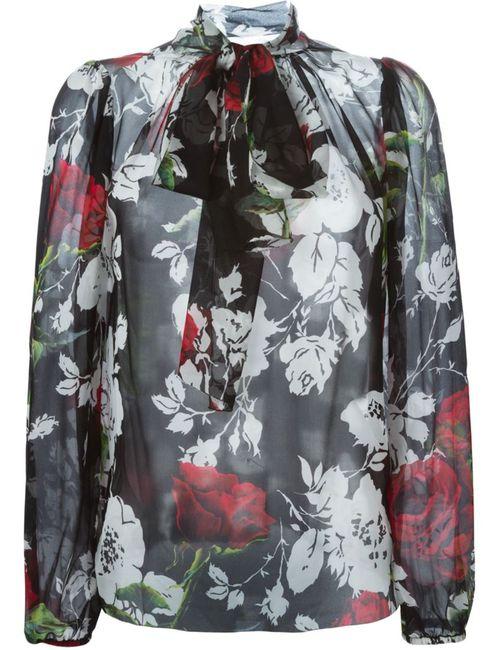 Dolce & Gabbana | Женская Чёрная Блузка С Принтом Роз