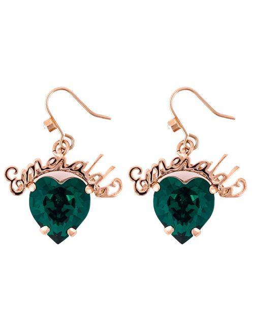 Mawi | Женское Зелёный Emerald Word Heart Earrings