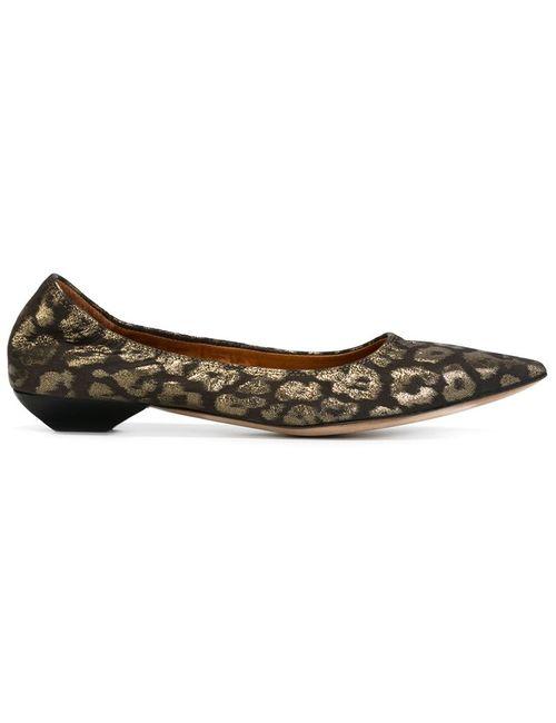 Lanvin | Женские Чёрные Балетки С Леопардовым Принтом