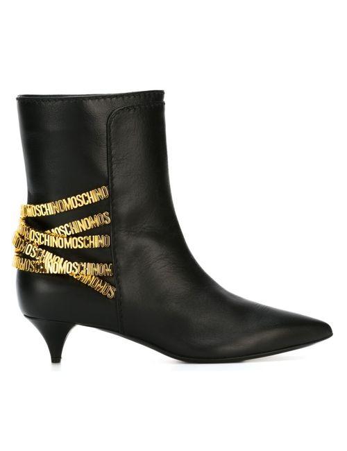 Moschino | Женские Чёрные Ботинки С Логотипом