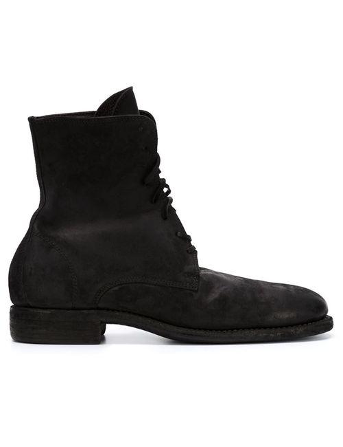 GUIDI | Мужские Чёрные Ботинки На Шнуровке С Потертой Отделкой