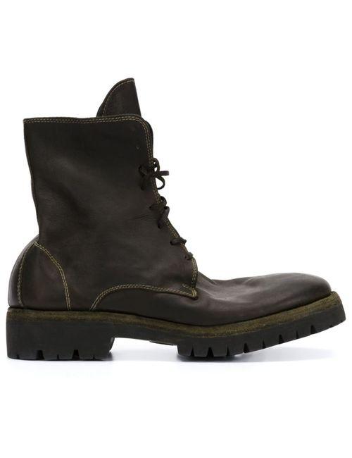 GUIDI | Мужские Чёрные Ботинки На Шнуровке С Эффектом Поношенности
