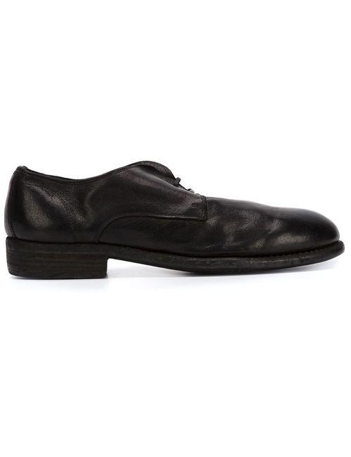 GUIDI | Мужские Чёрные Туфли Дерби С Эффектом Поношенности