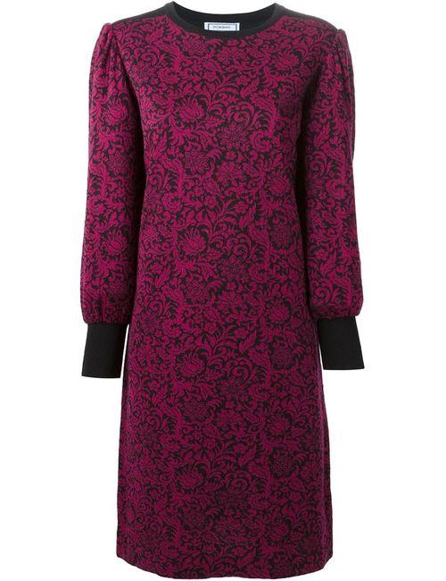 Saint Laurent   Женское Розовое Трикотажное Платье С Цветочным Принтом