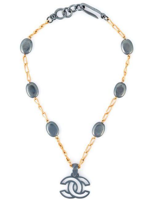 Chanel Vintage | Женское Серебристое Ожерелье С Подвеской-Логотипом