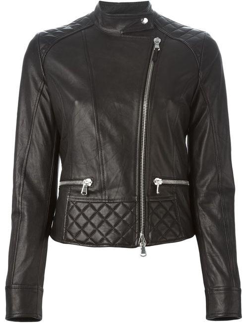 Eleventy | Женская Чёрная Байкерская Куртка Со Стеганой Панелью