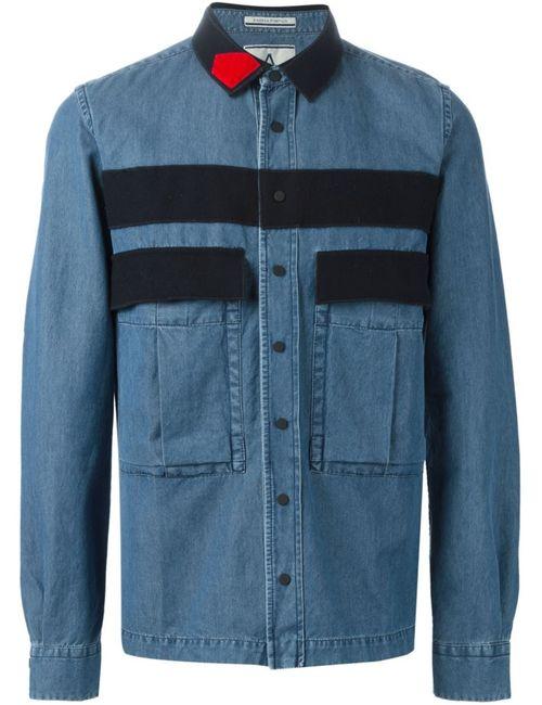 Andrea Pompilio | Мужская Синяя Джинсовая Рубашка С Панельным Дизайном