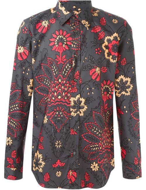 Maison Margiela   Мужская Серая Рубашка С Цветочным Принтом