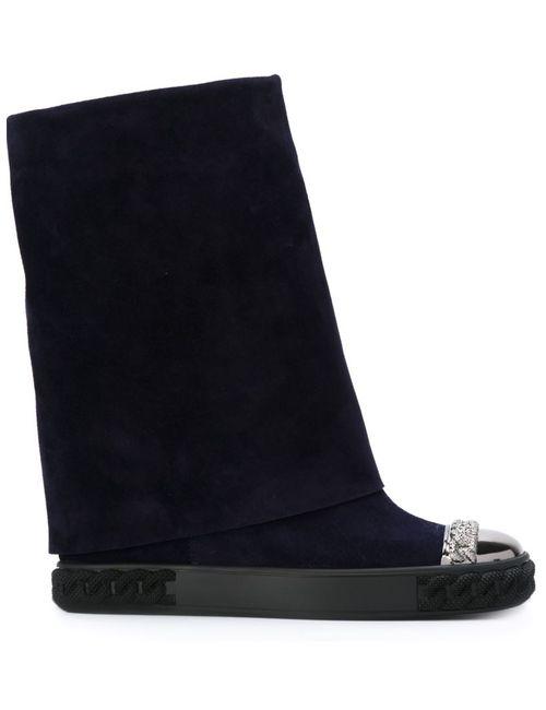Casadei | Женское Синий Fold-Over Mid-Calf Boots