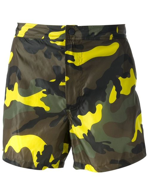 Valentino   Мужское Зелёный Camouflage Print Swim Shorts