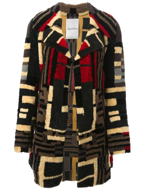 Valentino   Женское Многоцветное Пальто С Геометрическим Узором