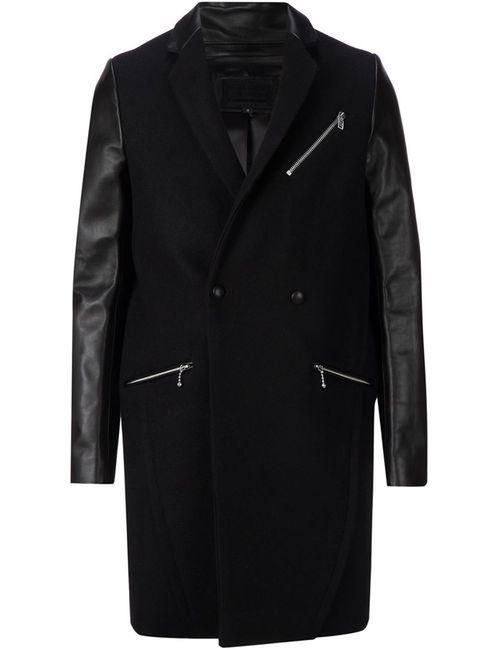 99 IS | Мужское Чёрное Пальто С Контрастными Рукавами