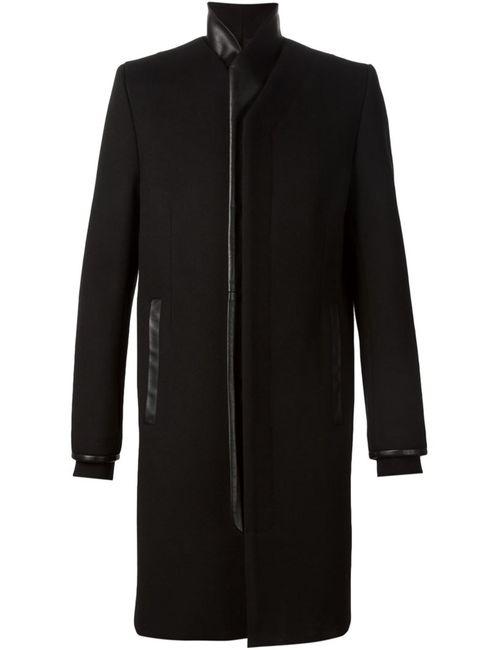 TIM COPPENS | Мужское Чёрное Пальто С Кожаной Отделкой