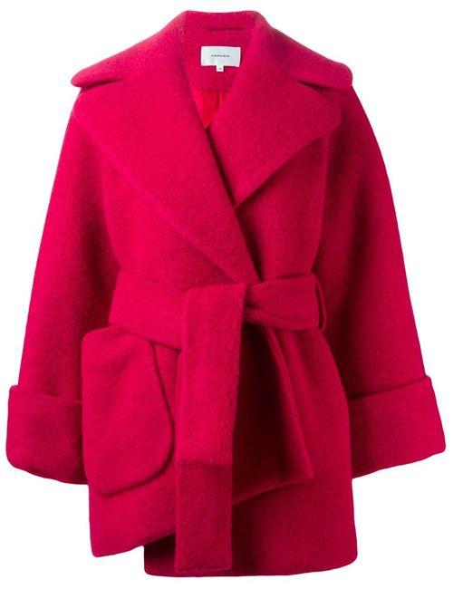 Carven | Женское Красное Укороченное Пальто-Халат