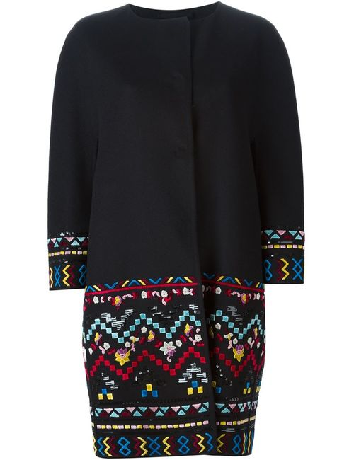 Ermanno Scervino | Женское Чёрное Пальто С Вышивкой