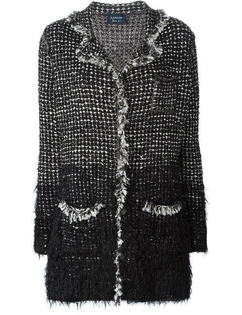 Lanvin | Женское Чёрное Твидовое Пальто