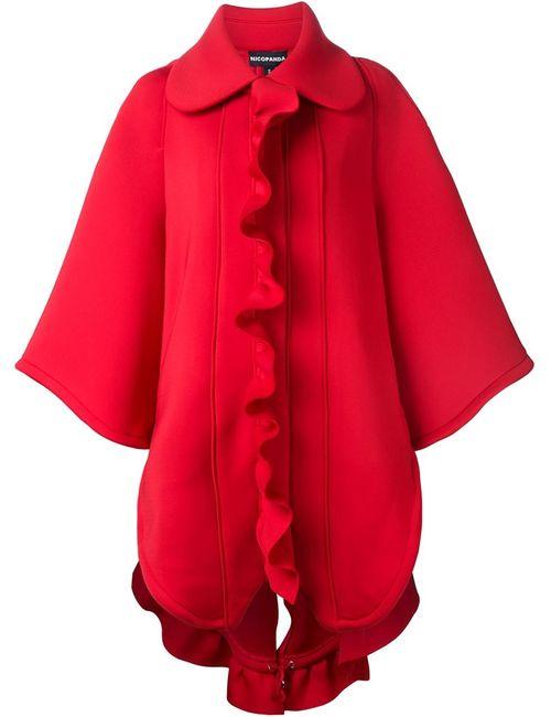 NICOPANDA | Женское Красное Свободное Пальто С Рюшами