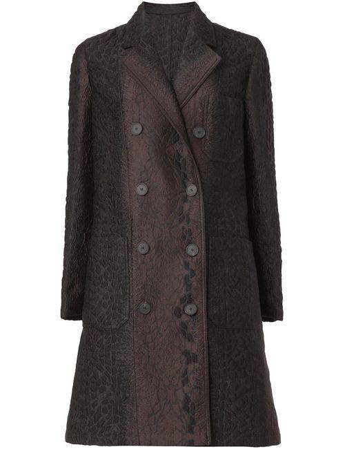 Lanvin | Женское Коричневое Двубортное Жаккардовое Пальто