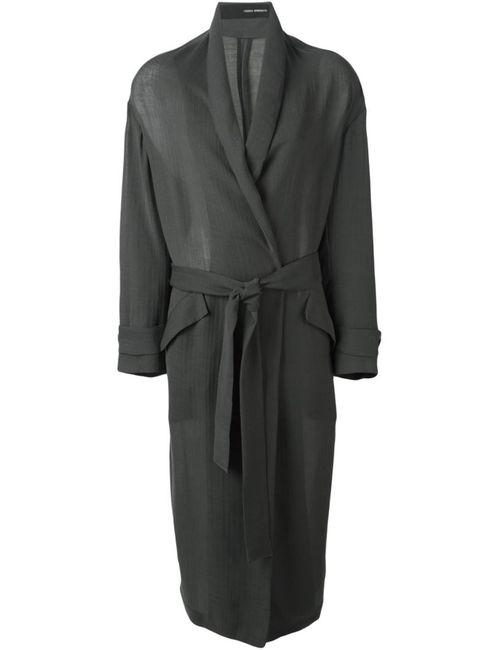 Isabel Benenato | Женское Серое Длинное Пальто С Поясом