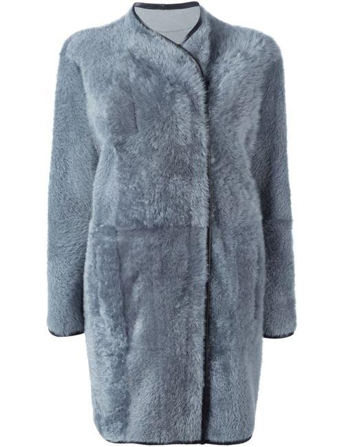 Drome   Женское Серое Двубортное Пальто На Молнии