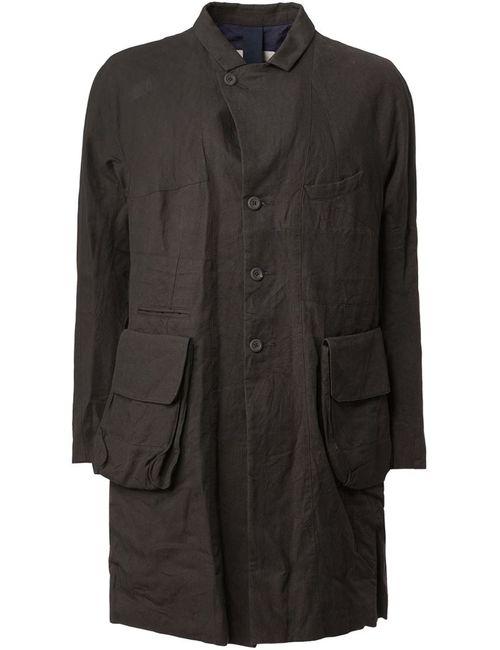 ZIGGY CHEN | Мужское Чёрное Пальто С Кожаными Заплатками На Локтях