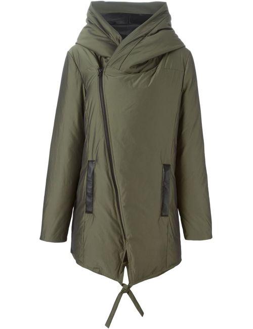 Unconditional | Женское Зелёное Дутое Пальто Со Смещенной Застежкой-Молнией