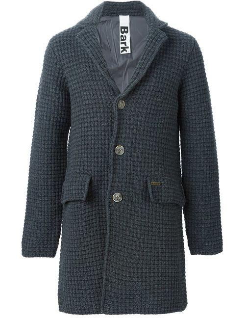 Bark   Мужское Серое Однобортное Вязаное Пальто