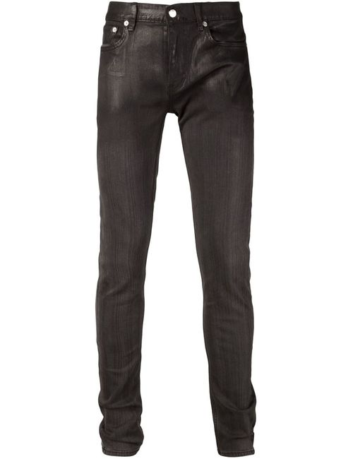 Blk Dnm   Мужское Чёрный Coated Detail Skinny Jeans